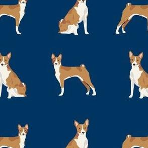 basenji dog fabric - basenji dog, basenji fabric, dog fabric, dogs fabric, cute dog, pet - navy