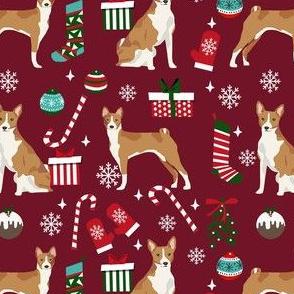 basenji christmas dog fabric, christmas fabric, dog fabric, basenji fabric - ruby