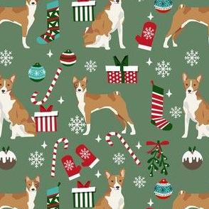 basenji christmas dog fabric, christmas fabric, dog fabric, basenji fabric -  muted green