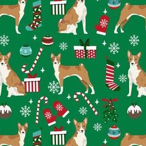 basenji christmas dog fabric, christmas fabric, dog fabric, basenji fabric - green