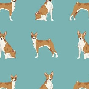 basenji dog fabric - basenji dog, basenji fabric, dog fabric, dogs fabric, cute dog, pet - blue