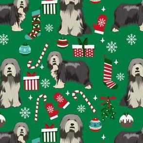 bearded collie dog christmas fabric, christmas dog, holiday dog, bearded collie fabric - green