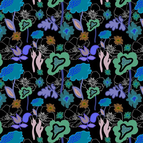Forbidden Planet Garden #2 - blue, purple, green - on black