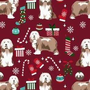 bearded collie christmas dog fabric - dog fabric, christmas dog fabric, dog breeds fabric - light coat - burgundy