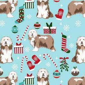 bearded collie christmas dog fabric - dog fabric, christmas dog fabric, dog breeds fabric - light coat - light blue