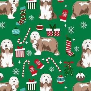 bearded collie christmas dog fabric - dog fabric, christmas dog fabric, dog breeds fabric - light coat - green