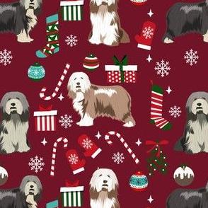 bearded collie christmas dog fabric - dog fabric, christmas dog fabric, dog breeds fabric - mixed coats - burgundy