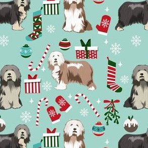 bearded collie christmas dog fabric - dog fabric, christmas dog fabric, dog breeds fabric - mixed coats - light blue