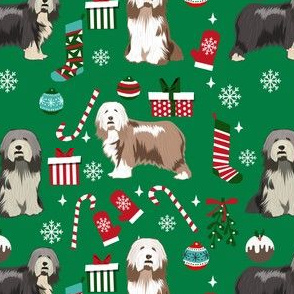 bearded collie christmas dog fabric - dog fabric, christmas dog fabric, dog breeds fabric - mixed coats - green