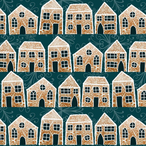 Gingerbread houses on teal background