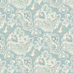 Teal and Cream Paisley