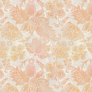 Golden Coral Floral Paisley