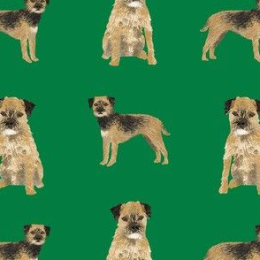 border terrier dog fabric - dog fabric, border terrier fabric, holiday dog fabric, christmas dog fabric - green