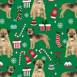 border terrier christmas fabric - dog fabric, christmas fabric, christmas dog fabric, border terrier fabric - green