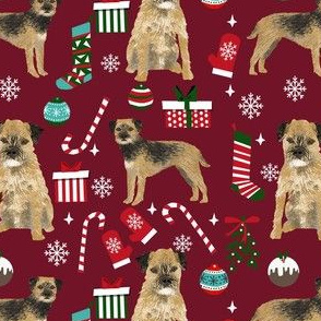 border terrier christmas fabric - dog fabric, christmas fabric, christmas dog fabric, border terrier fabric -  burgundy
