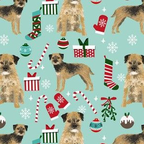 border terrier christmas fabric - dog fabric, christmas fabric, christmas dog fabric, border terrier fabric -  light blue