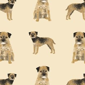 border terrier dog fabric - dog fabric, border terrier fabric, holiday dog fabric, christmas dog fabric -cream