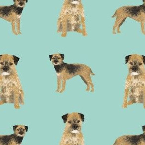 border terrier dog fabric - dog fabric, border terrier fabric, holiday dog fabric, christmas dog fabric - blue