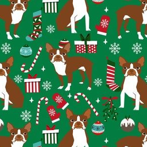 liver boston terrier christmas fabric - dog fabric, christmas fabric, boston terrier fabric, liver dog, holiday fabric - green