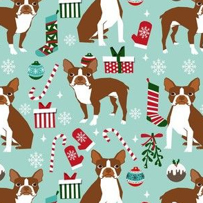 liver boston terrier christmas fabric - dog fabric, christmas fabric, boston terrier fabric, liver dog, holiday fabric - light blue