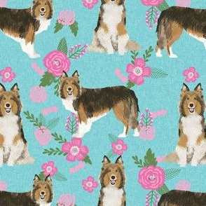 sheltie quilt floral dog - shetland sheepdog fabric, sheltie floral, floral dog fabric - blue