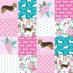 sheltie grey cheater fabric - cheater fabric, patchwork fabric, quilt fabric - teal and pink floral