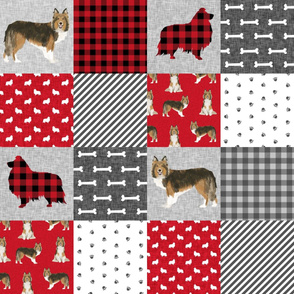 sheltie grey cheater fabric - cheater fabric, patchwork fabric, quilt fabric - red