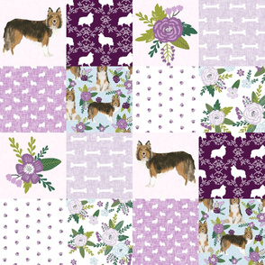 sheltie grey cheater fabric - cheater fabric, patchwork fabric, quilt fabric - purple floral