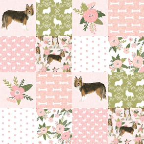 sheltie grey cheater fabric - cheater fabric, patchwork fabric, quilt fabric - peach floral