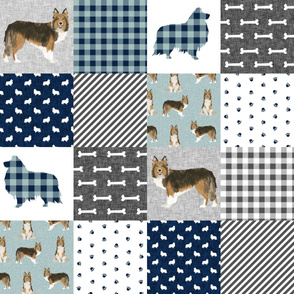 sheltie grey cheater fabric - cheater fabric, patchwork fabric, quilt fabric - navy