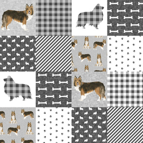 sheltie grey cheater fabric - cheater fabric, patchwork fabric, quilt fabric - grey