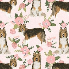 sheltie quilt floral dog - shetland sheepdog fabric, sheltie floral, floral dog fabric - peach