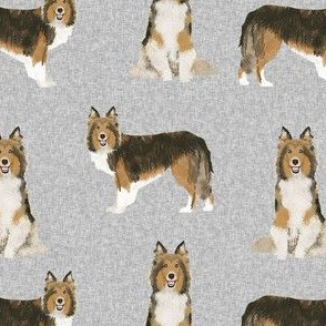 sheltie dog fabric - shetland sheepdog fabric, dog fabric, dog breed fabric - grey