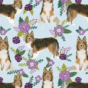 sheltie quilt floral dog - shetland sheepdog fabric, sheltie floral, floral dog fabric - purple floral