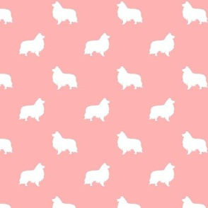 sheltie silhouette fabric - shetland sheepdog fabric, dog fabric, dog silhouette fabric  - salmon