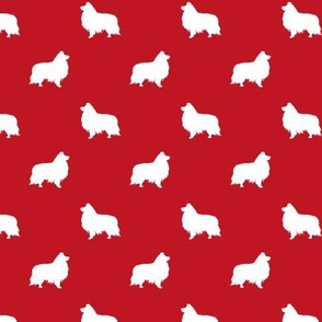 sheltie silhouette fabric - shetland sheepdog fabric, dog fabric, dog silhouette fabric  - red