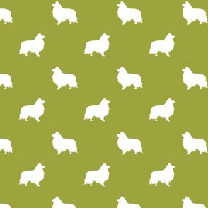 sheltie silhouette fabric - shetland sheepdog fabric, dog fabric, dog silhouette fabric  - lime