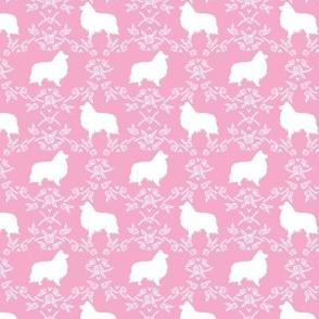 sheltie silhouette fabric - shetland sheepdog fabric, dog fabric, dog silhouette fabric  - pink floral