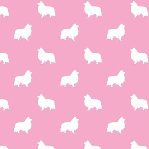 sheltie silhouette fabric - shetland sheepdog fabric, dog fabric, dog silhouette fabric  - pink