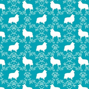 sheltie silhouette fabric - shetland sheepdog fabric, dog fabric, dog silhouette fabric  - teal floral