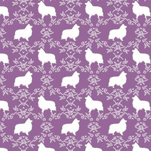 sheltie silhouette fabric - shetland sheepdog fabric, dog fabric, dog silhouette fabric  - purple floral
