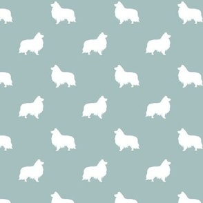 sheltie silhouette fabric - shetland sheepdog fabric, dog fabric, dog silhouette fabric  - blue