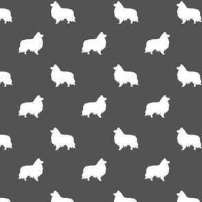 sheltie silhouette fabric - shetland sheepdog fabric, dog fabric, dog silhouette fabric  -charcoal