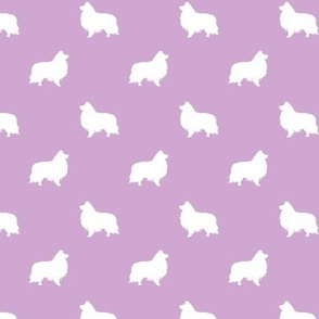 sheltie silhouette fabric - shetland sheepdog fabric, dog fabric, dog silhouette fabric  - lavender