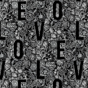 Love Pattern white on black