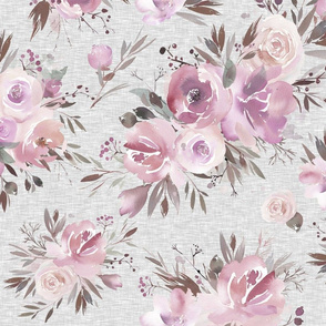 Winter Roses - Pink on Grey Linen
