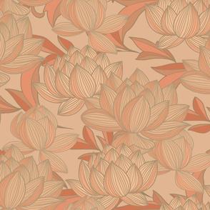 Lotus Print Beige