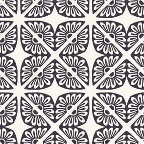 Hand drawn floral mosaic tile shapes.