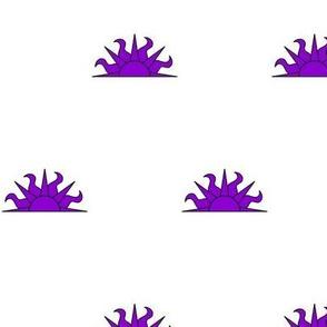 Argent, a demi-sun purpure
