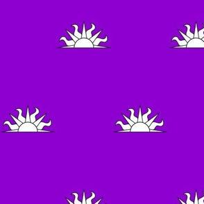 Purpure, a demi-sun argent